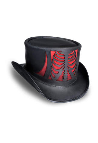 Rib Cage Black Red Leather Hat