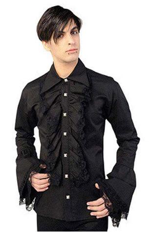 Ruffle Black Button Shirt