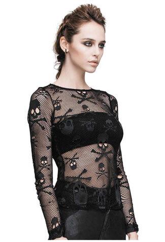 skull-n-bones mesh net shirt