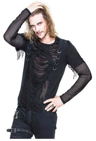 Men's Slashed Mesh Top