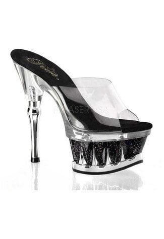 SPIKY-601MG Black Clear Heels