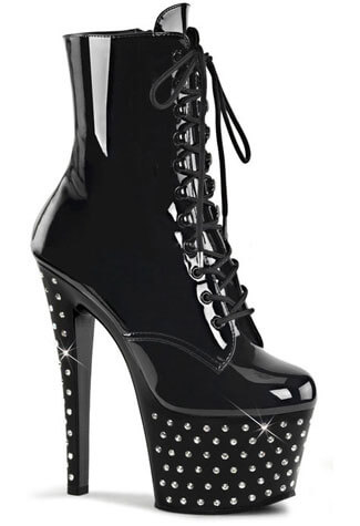 STARDUST-1020-7  Black Patent High Heel Boots