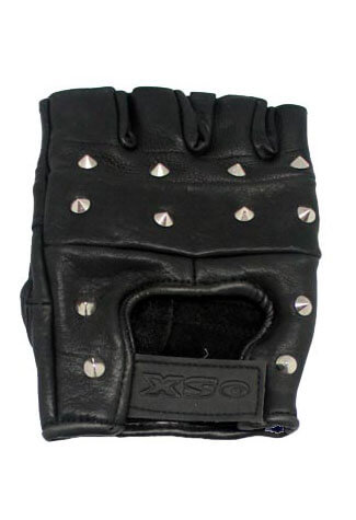 Studded Fingerless Leather Gloves