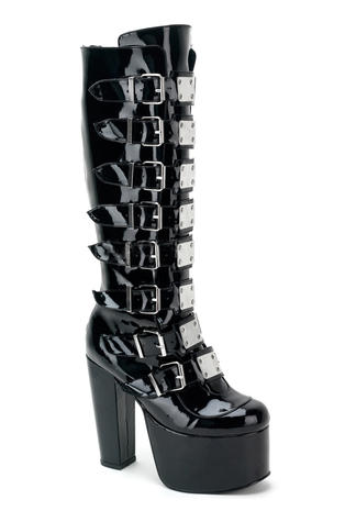 TORMENT-804 Black Patent Boots