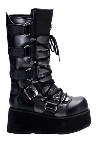 TRASHVILLE-519 Black Platform Boots