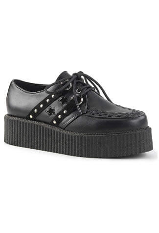 V-Creeper-538 Black Star Creepers Shoes