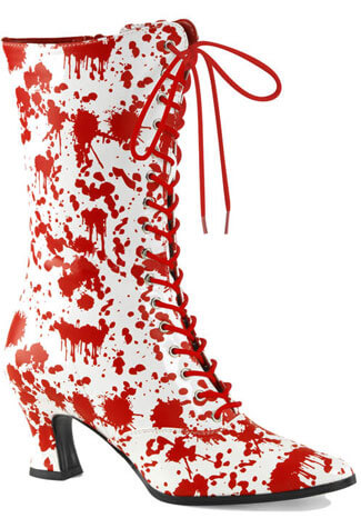 VICTORIAN-120BL Blood Splatter Boots
