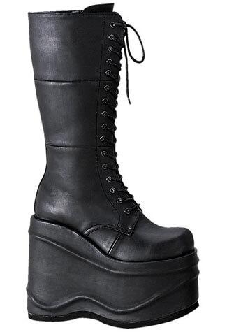 WAVE-302 Black Platform Boots