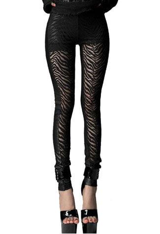Zebra Leggings Black