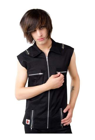 Zip Vest Denim Black