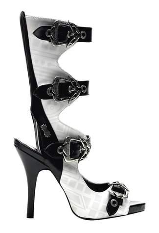 ZOMBIE-106UV Black White Boots