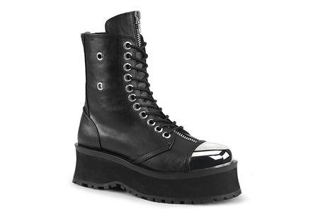 GRAVEDIGGER-10 Silver Toe Cap Boots