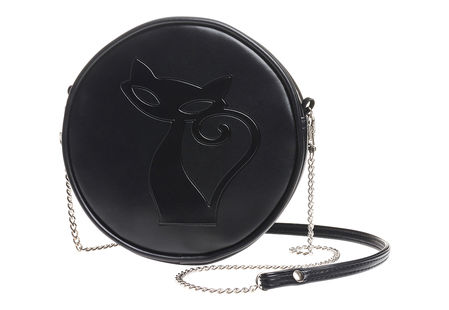 Black kitty shoulder bag