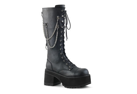 Ranger-303 black platform boots with chains