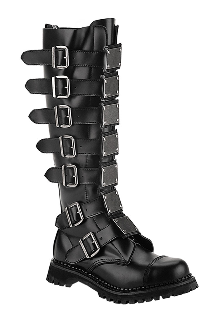 REAPER-30 Black Leather Combat Boots